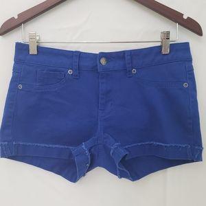 Dots - Royal Blue shorts frayed cuff jrs size 9